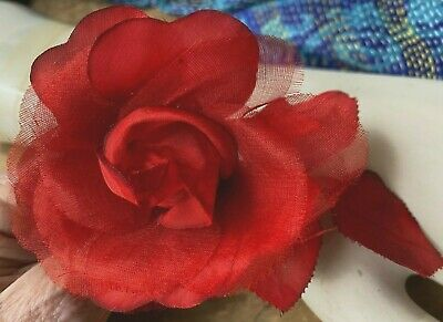Vintage Silk Organza 3' ROSE & LEAVES CZECH 1pc