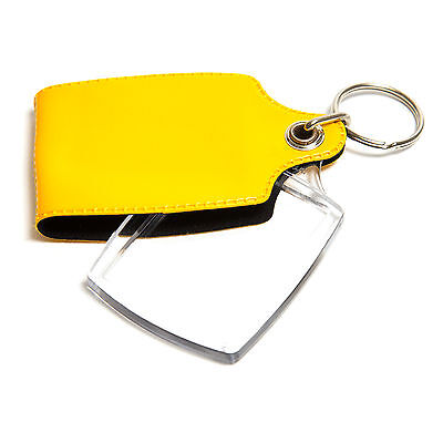 10 YELLOW CASED CLEAR KEYRINGS 45mmx35mm PHOTO COVERED