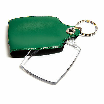 500 GREEN CASED CLEAR KEYRINGS 45mmx35mm PHOTO COVERED