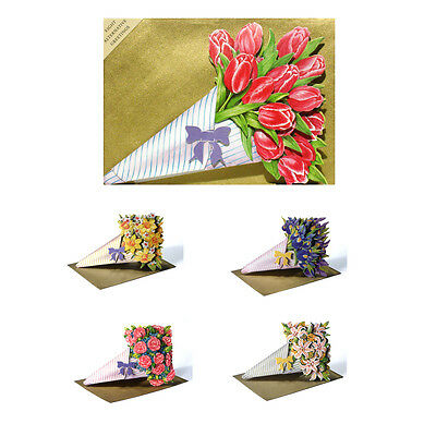 30 3D Decoupage Die-cut Bouquet Greetings Cards with 8 Greetings EC0014