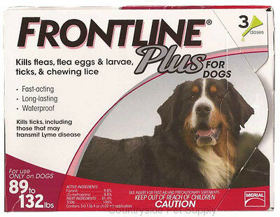 Frontline Plus for Dogs 89-132 lbs 12 Doses Genuine USA