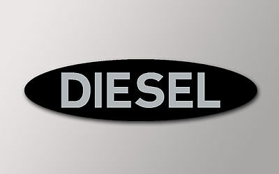 1 Oval  Diesel Fuel Sticker In Black With Silver Text