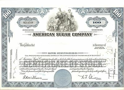 Nice AMERICAN SUGAR CO Stock Certificate, 100 shares, from 1966