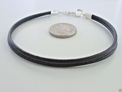 Mens Double Leather Bracelet Wristband with 925 Sterling Silver - Black or Brown