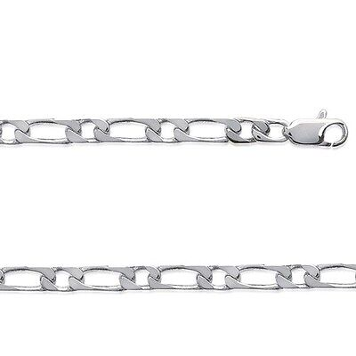 Chaine Collier LARGE HOMME maille figaro 1-1 55 cm ARGENT NEUF