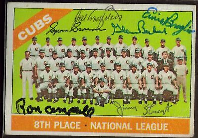 1966 TOPPS #204 CUBS SIGNED TEAM CARD 6 AUTO BROWNE