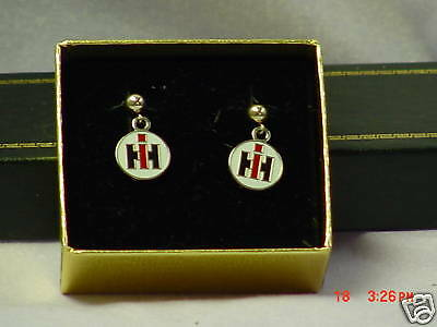 IH International Harvester pierced earrings, NIB