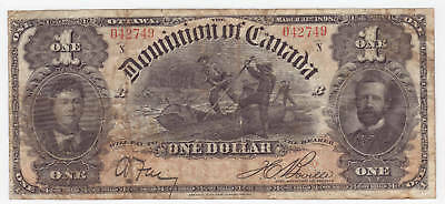 1898 DOMINION OF CANADA $ 1 ONE DOLLAR DC-13c BOVILLE N SERIE.