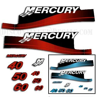 Mercury 40/50/60 hp Outboard Decal Kit - Blue or Red