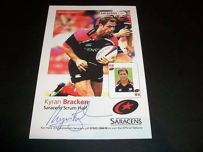 Saracens Kyran Bracken England Rugby Autograph Signed 4X6 Player Card C