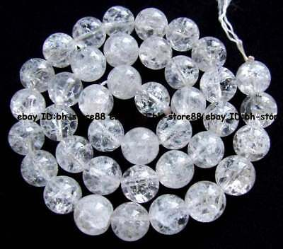 10mm Natural Crackle Rock Crystal Clear Quartz Round Gemstone Beads 15.5''