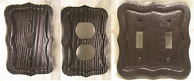 Vintage 60's Faux Wood Electrical Single Double Outlet Switch Plate Cover NOS