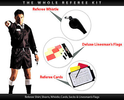 All in one Football Referee Kit Shirt Shorts Socks S-XL