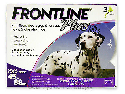 Frontline Plus for Dogs 45-88 lbs 3 Pack Genuine USA