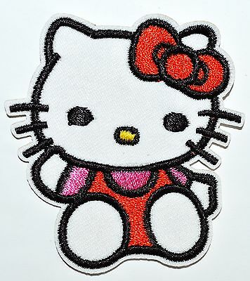 4 pcs Lovely Hello Kitty Red Pink Dress Embroidery Iron on Patches Clothes /Sew