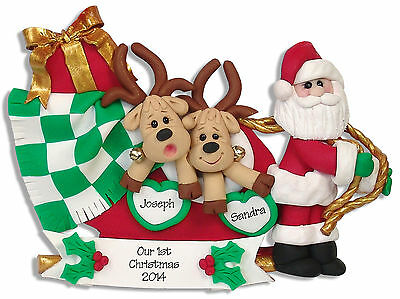 Reindeer FAMILY 2 COUPLE Handmade Polymer Clay Personalized Christmas Ornament