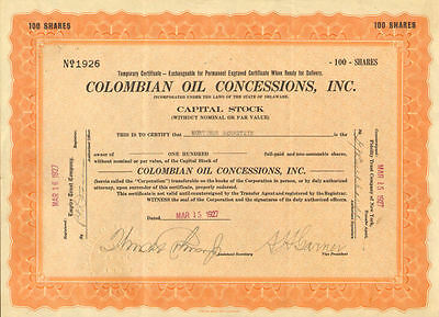 Colombian Oil Concessions   Colombia stock certificate
