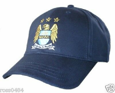 Manchester City FC Navy Blue Cap OFFICIAL Embroided Crest Gift