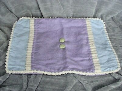 Wendy Bellissimo Purple Blue White Buttons Linen Pillow Sham Cover Zipper