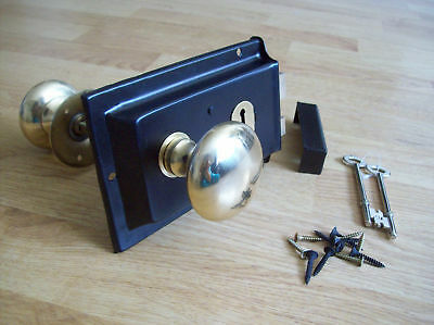 Old Victorian Solid Brass Black Rim Lock Knob Set