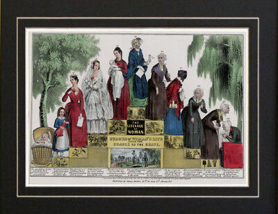 The Life and Age Stages of Women Old 1848 print Repo