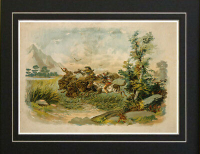 Old West Buffalo Hunt Native American Indian print repo