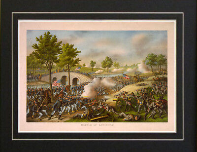 1888 Civil War Print Battle of Antietam Currier & Ives