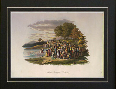 Anabaptist Baptism Religious 1840's Print Painting