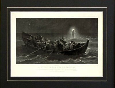 1867 Jesus Sea of Galilee Religious Bible Israel Print