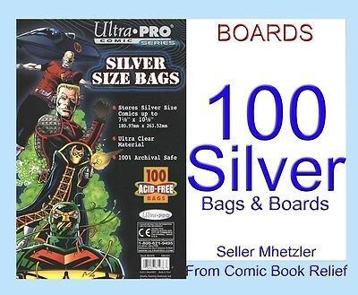 100 SILVER ULTRA PRO BAGS AND BOARDS FOR COMIC BOOKS