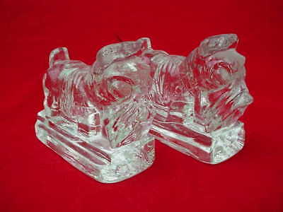 Pr. of Scottie Scotty Dog Glass Bookends