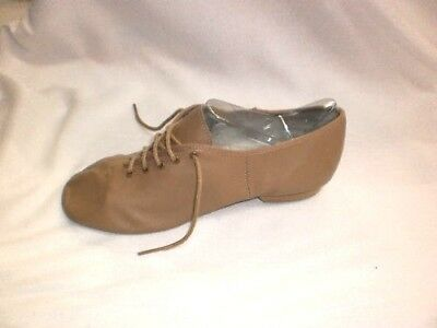 Paul Wright Childs Full Sole Leather Jazz Dance Shoes, Tan, Size 10 New with Bag