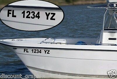 "JET SKI REGISTRATION NUMBERS BOAT PWC UP TO 3"" x18"" SET"