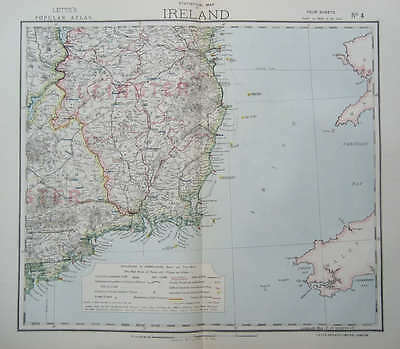 1883 Ireland 4 Statistical Maps Antique Letts 1883