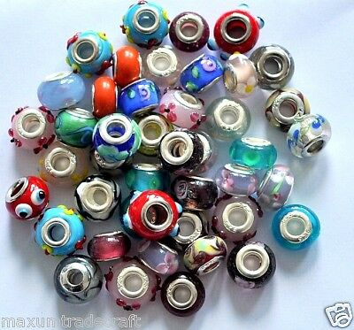 50x various murano glass charm beads fit European style snake chain