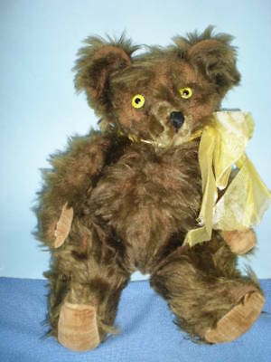 "Antique 18"" Brass mohair Bear with Yellow eyes"