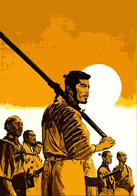 Seven Samurai Popart Oil Painting 28x16 inches in size.