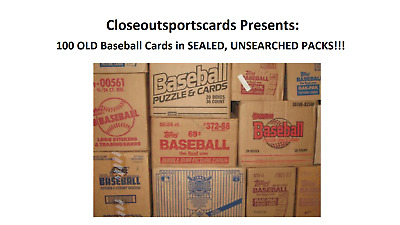 Lot of 100 OLD Baseball Cards in UNOPENED SEALED PACKS - Rookie - RC - HOF'ers