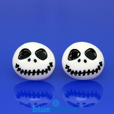 FUNKY WHITE JACK 15mm EARRINGS NIGHTMARE KITSCH EMO XMAS CUTE SKELETON SKULL