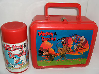 Mickey & Donald`Disneyt,Plastic Lunchbox & Thermos Set`W/Sip Top-:>Free To US