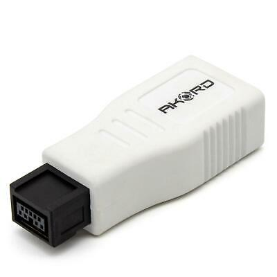 AKORD FireWire 400 to 800 6 Pin to 9 Pin Male Adapter - White