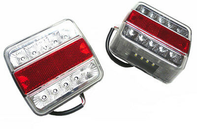 Trailer Caravan Rear Square 5 Function 12v LED Lights x 2