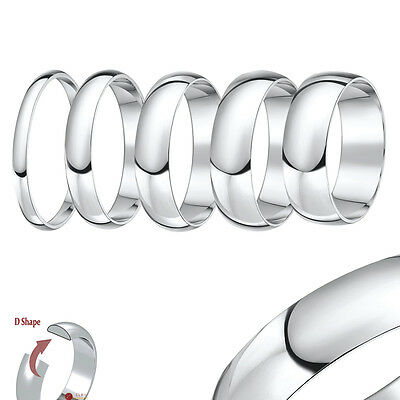 9ct White Gold Ring D Shape Medium/Heavy Wedding Ring Band (Solid & Hallmarked)