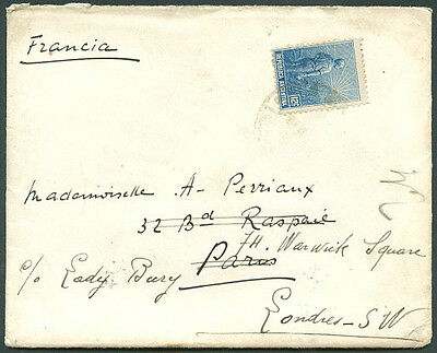 ARGENTINA TO FRANCE resent GREAT BRITAIN Cover 1912 FVF