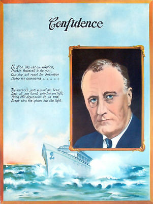1933 Franklin Roosevelt BRING DEPRESSION TO END Inauguration Poster (2158)