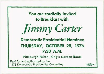 1976 Jimmy Carter Campaign Pittsburgh Breakfast Fundraiser Invitation (6499)