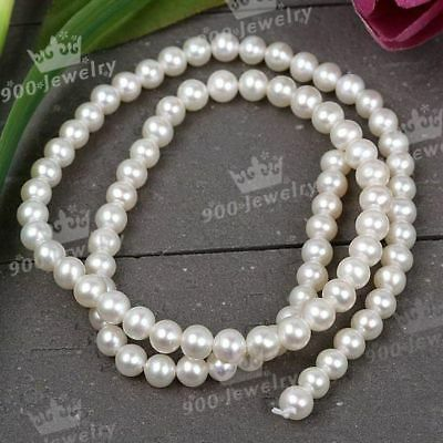5Mm Cultured Freshwater White Round Loose Pearl Beads