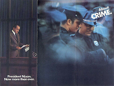 Official 1972 Reelect Richard Nixon Campaign Brochure CRIME (1449)