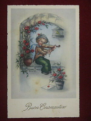 BIMBO CON VIOLINO-illustrata,firm,no viagg,anni 10#9265
