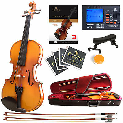 Mendini Solidwood Violin Ebony Fitted +Tuner+Book/Video ~ Size 4/4 3/4 1/2 1/4